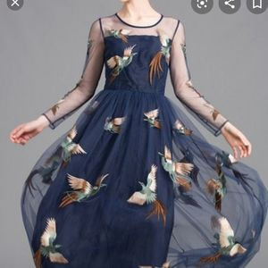 Embroidered Bird Midi Dress